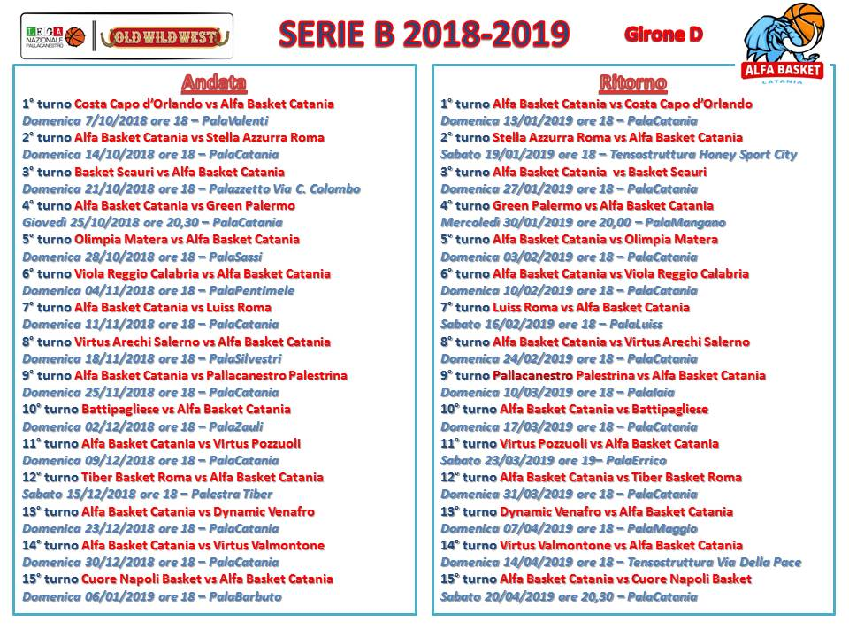Calendario Serieb.Serie B Old Wild West 2018 2019 Il Calendario Dell Alfa